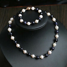 Natural 9-10mm White Freshwater Pearl & Blue Sand Stone Necklace Bracelet JN2014