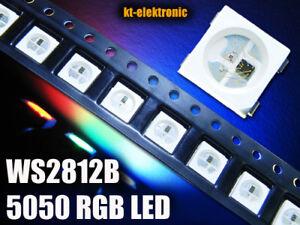 50 Stück WS2812B RGB SMD 5050 PLCC4 LED mit integriertem WS2811 Controller