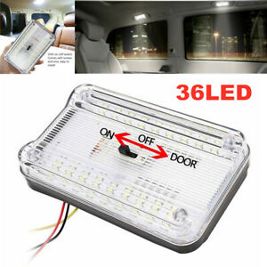 12V 7.2W White 36 LED Roof Reading Lamp Ceiling Interior RV Trunk Light w/Switch