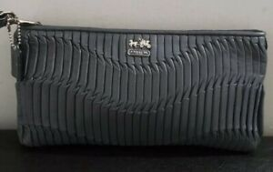 Coach Gray Pleated Leather Wristlet Wallet/Clutch/Mini Bag