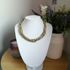 Retro Gold Tone Twisted Statement Chain Short Mod Punk Costume Necklace Choker