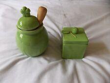 Mini Honey Pot Ceramic Jar, Wood Dipper & Square Jar