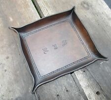Personalized Leather Valet Tray. Border and Initials