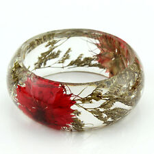 Handmade Real flower Botanical jewellery lucite bangle bracelet.{18}