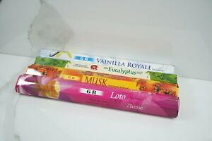 20 bastoncini incenso EUCALIPTO MUSCHIO VANIGLIA LOTO marca GR fragranza india