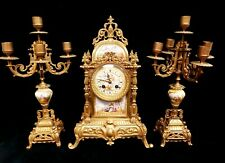JAPY FRERES FRENCH GARNITURE CLOCK & CANDELABRA CHAMPLES