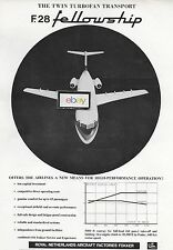 FOKKER AIRCRAFT F-28 FELLOWSHIP 1964 TWIN TURBOFAN TRANSPORT AD