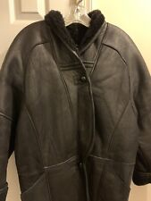 Sheperd Pelle Pelle Womens Full Length Coat Size L Black