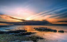 Incorniciato stampa-nuvoloso Sunny OCEAN ROCKY BEACH (foto poster arte MARE NAVE vista)