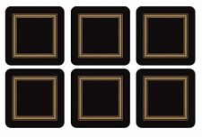 SET OF 6 BLACK GOLD BORDERED CLASSIC CORK BACKED COASTERS 10.5 X 10.5 X 0.6CM