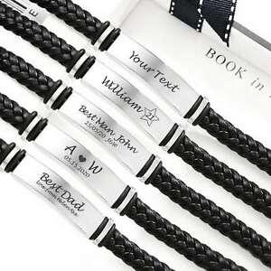 Engraved Personalised medical Mens Leather Bracelet ID Birthday Wedding Dad Gift