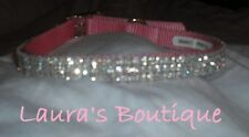 "Pink Collar With Clear Crystal Rhinestone Dog Collar 11-14"" Dog Birthday Party"