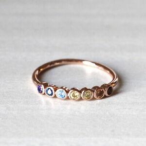 Rainbow Ring 7 Chakra Ring Multicolor Rose Gold Silver Healing Stone Yoga Ring