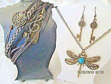 Dragonfly Pendant Earrings Bracelet 3 Pcs Jewelry Set Metal Bronze Girl Believe