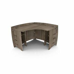 Legare Furniture Grey Driftwood L-Shaped Corner Desk with Adjustable Shelves,...
