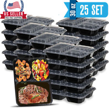 [30oz-25 Sets]- Meal Prep Containers  3 Compartment with Lid.Food Storage