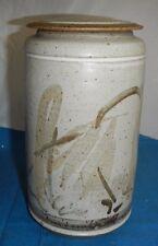 Decorative Stoneware Jar with Lid, EUC, Signed?