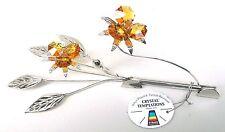 G 4695 Silber Kartenhalter Blume Flower Swarovski Steine Kristall Crystal 19 cm