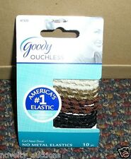 B16 ONE PACK GOODY NO METAL OUCHLESS 10 PIECE  PONYTAIL HOLDERS #47325 TAN BROWN