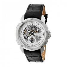 Heritor Automatic Conrad Men's Skeleton Black Leather Silver Watch HR2503