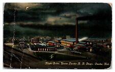 Night Scene, Union Pacific Railroad Shops, Omaha, Ne Postcard *5K5