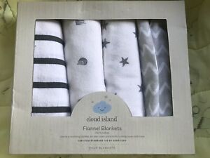 Cloud Island Flannel Baby Blanket 4 Pack 100% Cotton 30 x 30 White & Gray NEW