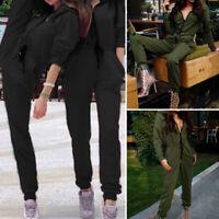 ZANZEA Femme Combinaison Col V Manche Longue Taille Haut Pantalon Loose Plus
