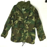 US Military Parka Extended Cold Weather Camouflage Woodland Camo Rain Jacket M/L