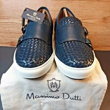 Massimo Dutti Leather Woven Monk Strap Dress Casual Shoes Mens Size-12  Navy