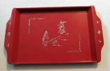 Wood Red Lacquer Tray with Mother of Pearl Inlay Figures Seesaw Jumping Vintage