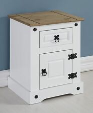 CORONA WHITE AND DISTRESSED WAXED PINE PETITE BEDSIDE CABINET *NEXT DAY DELIVERY