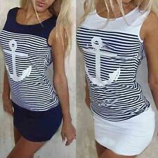 Womens Plain Sleeveless Tank Blouse Ladies Striped Sailor Summer Tops T-shirts