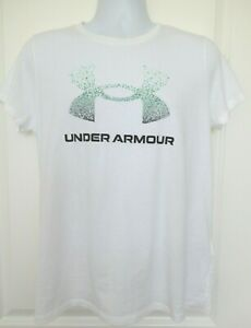 Under Armour HeatGear Womens Logo Graphic T-Shirt White Loose Fit Size Large NWT