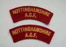 ACF Cloth Shoulder Titles / Army Cadet Force /  Nottinghamshire AFC Patch (x2)