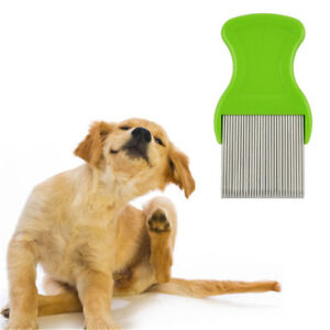 Comb Head Hair Lice Nit dog Safe Flea Eggs Dirt Dust Remover Steel Tooth Brus.yv