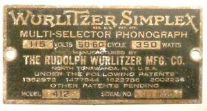 "WURLITZER 412 JUKEBOX part: METAL MACHINE TAG FOR THE ""412"""