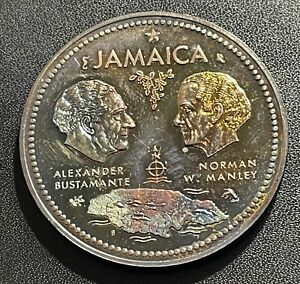 Jamaica 1972(ND) 10 Dollars Silver Coin:  Anniversary Independence 1.4632 OZ ASW