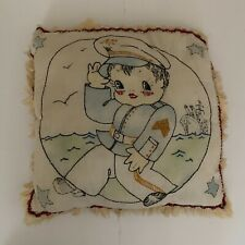 Vintage Tinted Embroidery Pillow Sailor Ship
