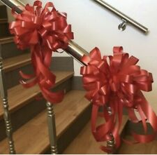 Red Poly Ribbon Bows 12 Inch Bow 2 ct