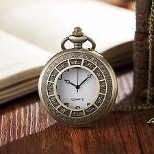 Antique 12 Two-Hour Periods Quartz Men's Watch Bronze Women Necklace Watch