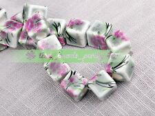 20pcs 10mm Grey Edge Plum Cube Square Ceramic Porcelain Big Hole Loose Beads