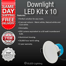 10 PCS Led Downlight 240 Volt 3 Colour super bright 850 Lumens 10 Watt Dimmable