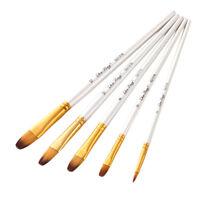 5pcs Long Handle Watercolor Paint Brushes Pen Gouache Acrylic Art Supplies G