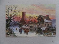 c1904 Comic Postcard Raphael Tuck Oilette 'Winter Scenes' No. 9006 Burnt Cottage