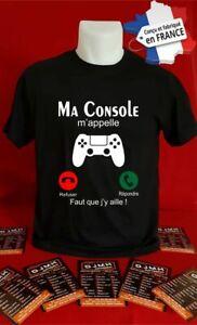 t-shirt personnalisé ma console m'appelle faut que j'y aille! idée cadeaux L010