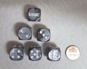 "DICE>>16mm - *6* CHX CUSTOM ""USMC"" ON VELVET SILVER w/WHITE LETTERS & PIPS"