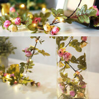 2M LED Artificia Rose Flower Fairy Lights String Wedding Party Home Decor
