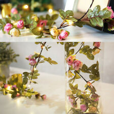 2M LED Artificial Rose Flower Fairy String Lights Home Party Wedding 1x TlCrR