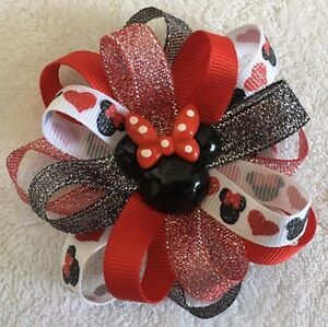 """Girls Hair Bow 3 1/2"""" Wide Flower Red Blk Hearts Minnie Sparkly French Barrette"""