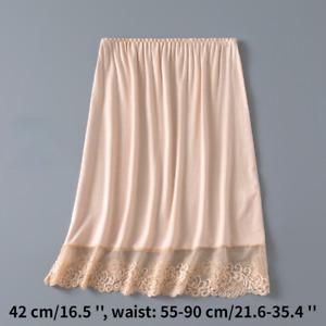 Lady Lace Splice Skirts Underskirt Petticoat Under Dress Half Slips Modal Casual